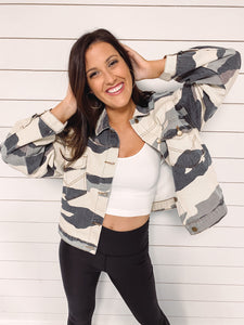 Myra Faded Camo Denim Jacket