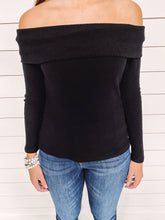 Load image into Gallery viewer, Kate Fold Over Sweater - Black