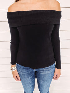 Kate Fold Over Sweater - Black