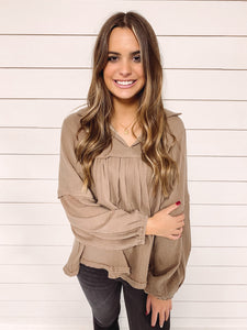 Madison Woven Top - Tan