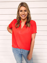 Load image into Gallery viewer, Aimee Split Neckline Top - Red