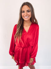 Load image into Gallery viewer, Blakely Red Satin Surplice Dress