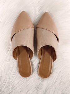 Kenna Textured Leather Mules - Nude