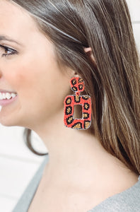 Beaded Leopard Rectangle Earrings - Red