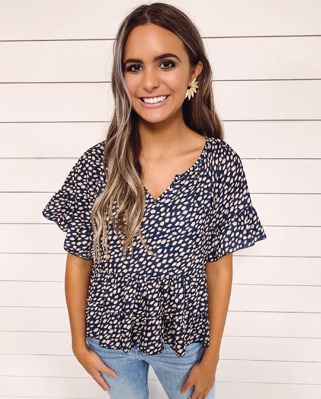 Kynlee Navy Spotted Top
