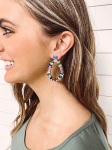 Crystal Teardrop Earrings - Multicolor
