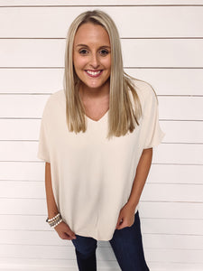Katie V Neck Top - Beige