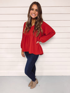 Brinley Babydoll Top - Red