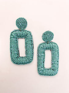 Beaded Rectangle Earrings - Turquoise