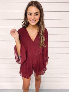Kiersten Burgundy Pleated Romper