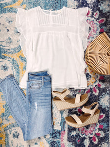 Isabella White Flutter Top
