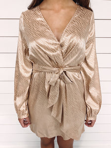 Lorelai Champagne Wrap Dress