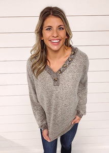 Kory Long Sleeve Knit Top - Mocha