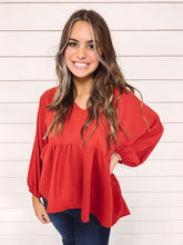 Load image into Gallery viewer, Brinley Babydoll Top - Red