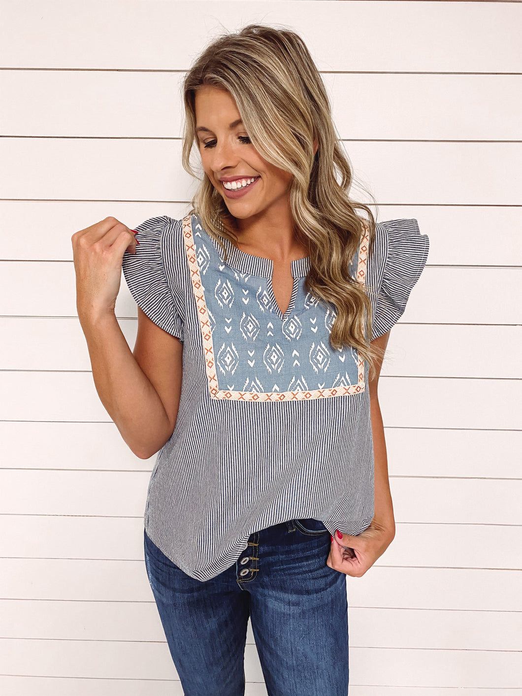 Lindy Stripe Embroidered Top