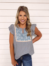 Load image into Gallery viewer, Lindy Stripe Embroidered Top