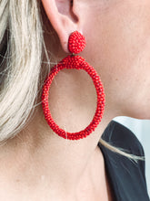 Load image into Gallery viewer, Hot Red Beaded Earrings