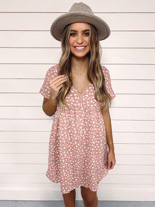 Vera Printed Babydoll Dress - Pink