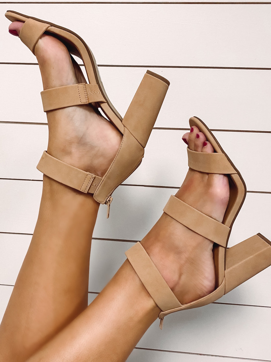 Mia Nude Three Strap Heel