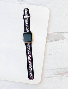 Leopard Print Stripe Watch Band - Grey