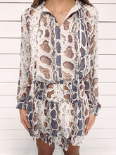 Load image into Gallery viewer, Jacey Smocked Snake Print Dress