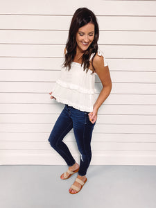 Everlasting Tiered Tank Top - White
