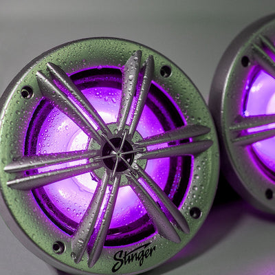 "Marine / Powersports 6.5"" Silver Coaxial Marine Speakers With Built-In Multi-Color RGB Lighting - Phoenix Gold"
