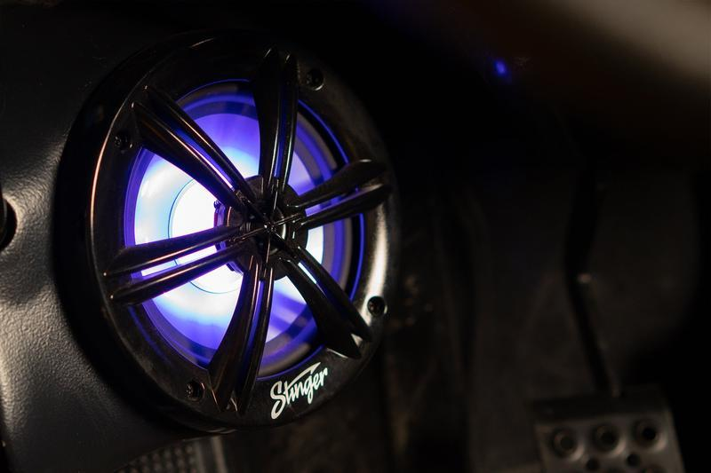 "Marine/Powersports 6.5"" Black Coaxial Marine Speakers with Built-In Multi-Color RGB Lighting - Phoenix Gold"