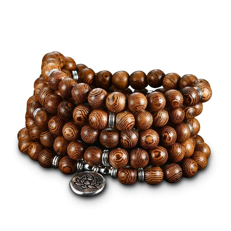 Bracelet Fleur de Lotus 108 Mala Bois tibétain - Royal Lotus