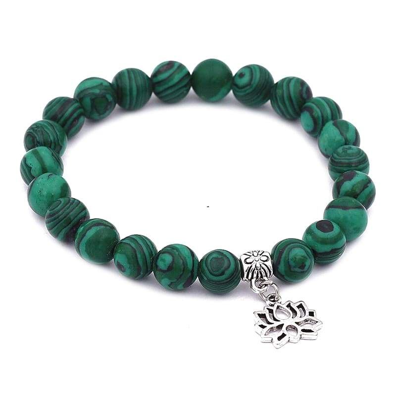 Bracelet Mala Fleur de Lotus Tibétain Malachite - Royal Lotus