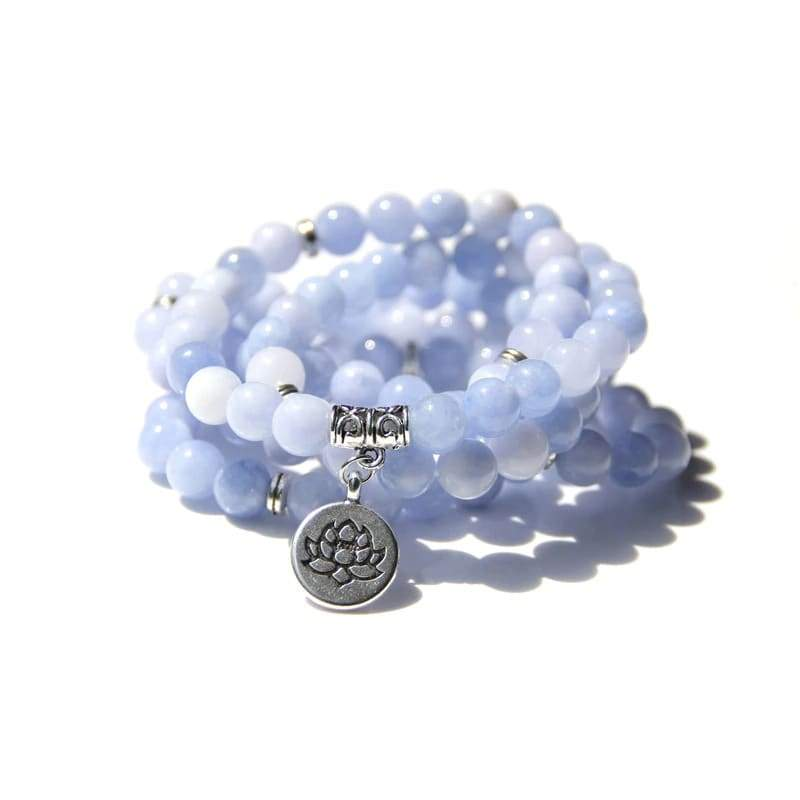 Bracelet Fleur de Lotus 108 Mala Aigue-marine - Royal Lotus