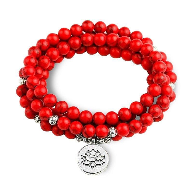 Bracelet Fleur de Lotus 108 Mala Jaspe Rouge - Royal Lotus