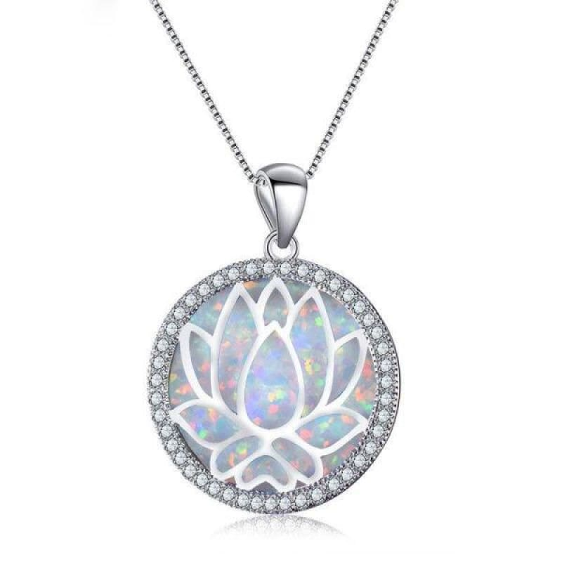Collier Fleur de Lotus Argent 925 Opales - Royal Lotus