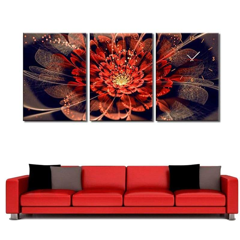 Tableau Fleur De Lotus Horloge Abstraite Rouge - Royal Lotus