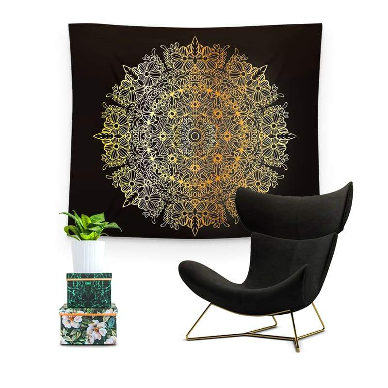 Tenture Fleur De Lotus Mandala Or et Noir - Royal Lotus