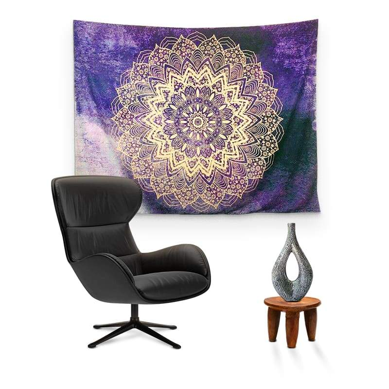 Tenture Fleur De Lotus Mandala Or et Violet - Royal Lotus