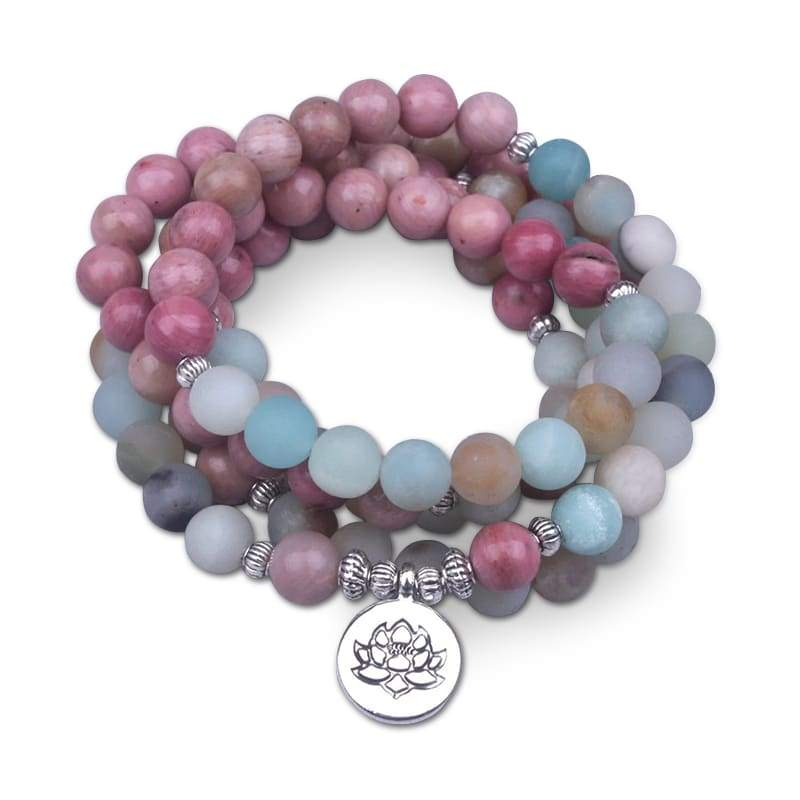Bracelet Fleur de Lotus 108 Mala Amazonite Givrée - Royal Lotus