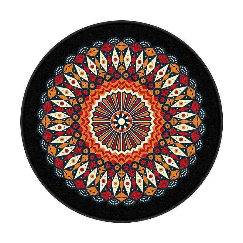 Tapis Fleur de Lotus Abstrait Noir Mandala - Royal Lotus