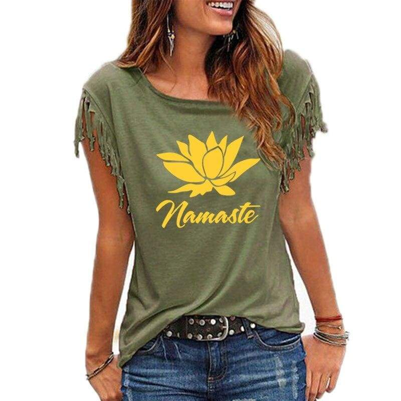 T-Shirt Fleur De Lotus Frange Namaste - Royal Lotus