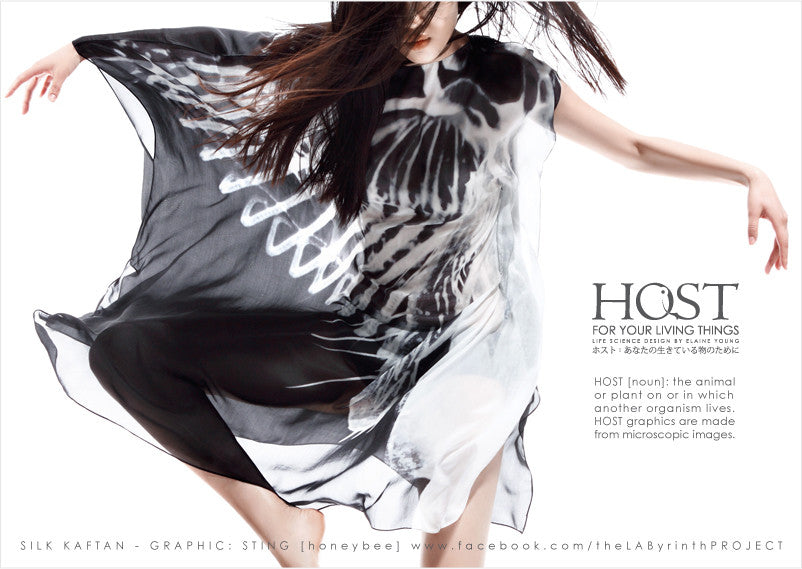 SILK KAFTAN - STING - BLACK/WHITE