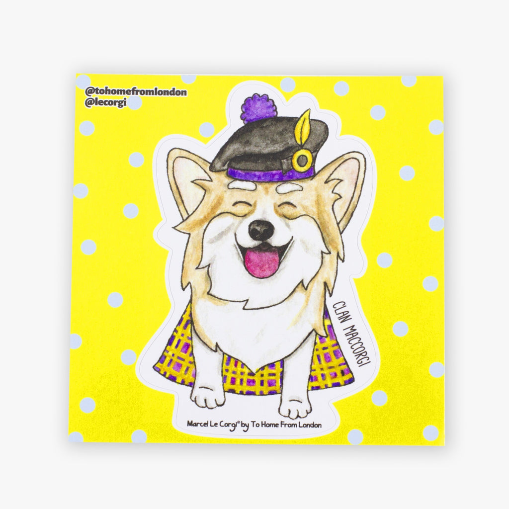 Le Scottish Corgi Sticker - To Home From London