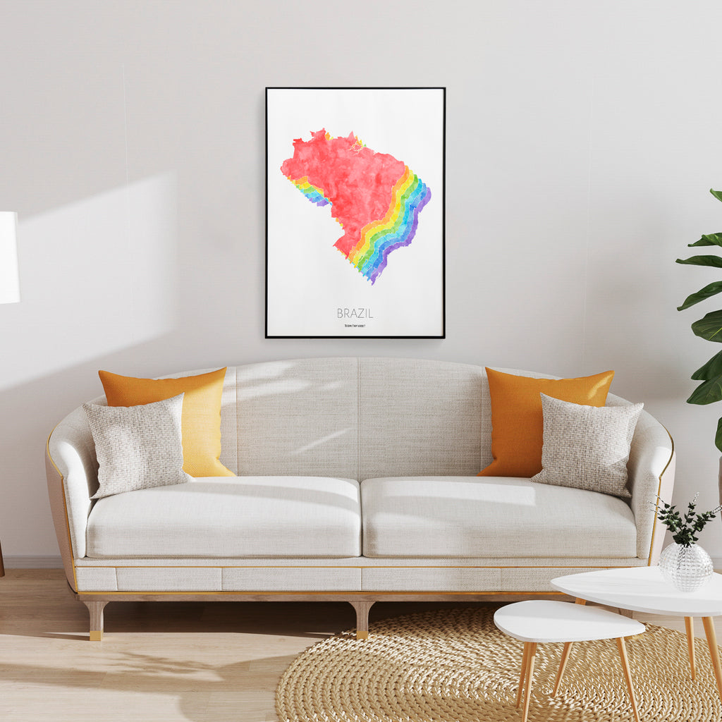Brazil Rainbow Map Print - To Home From London