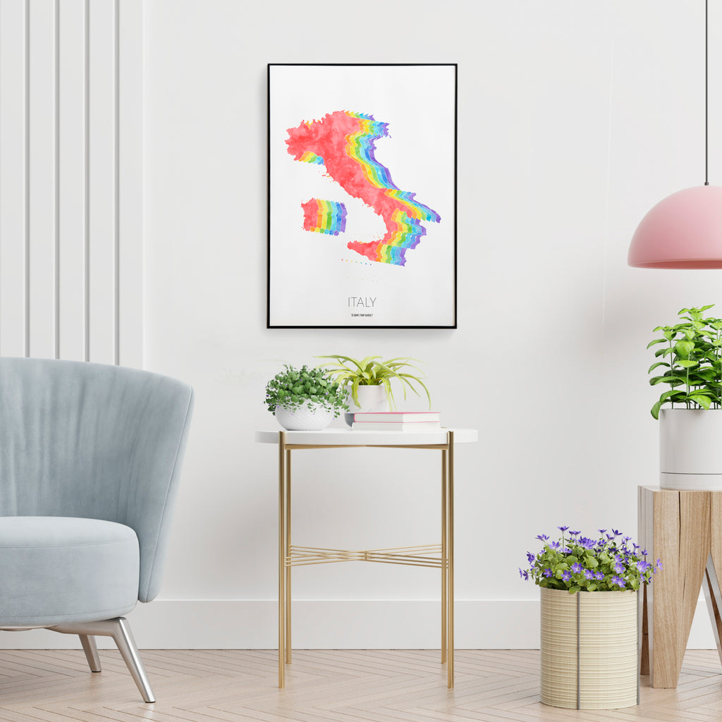 Italy Rainbow Map Print - To Home From London