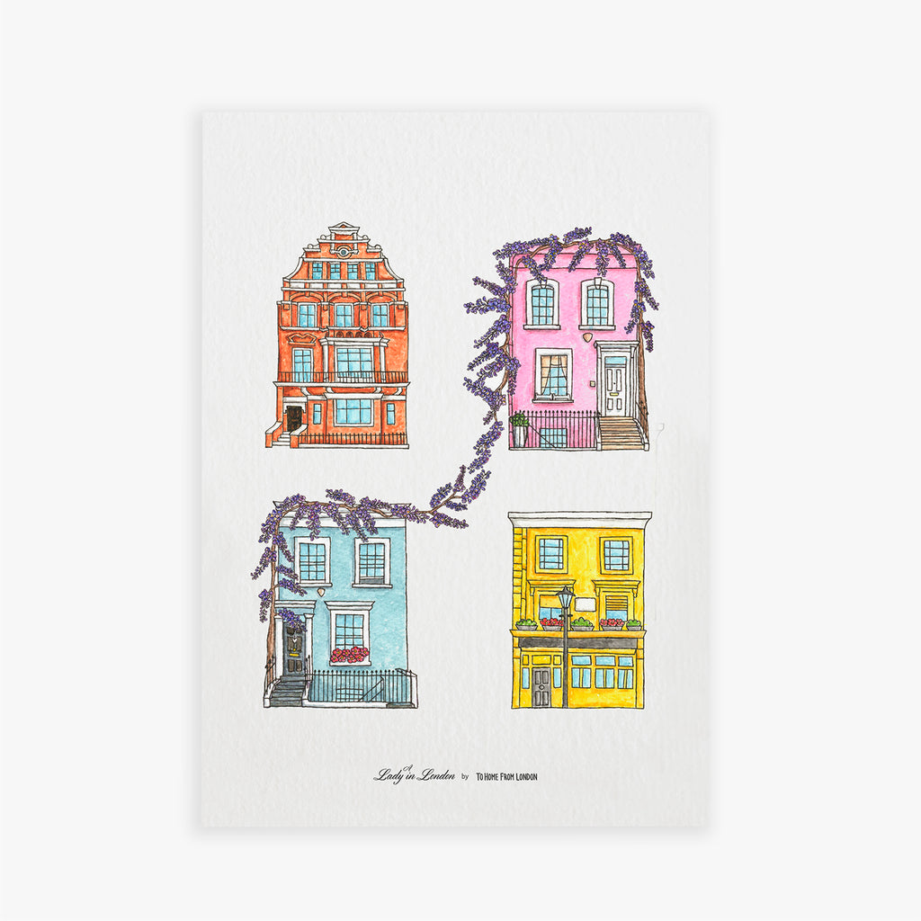 London Houses Print by A Lady in London - To Home From London