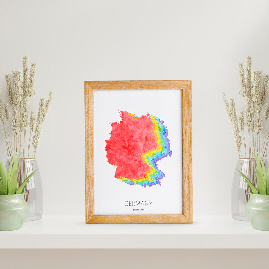 Germany Rainbow Map Print - To Home From London