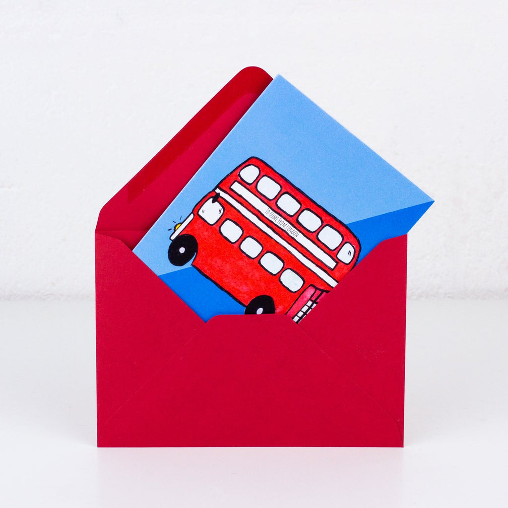 Double Decker Greeting Card - To Home From London