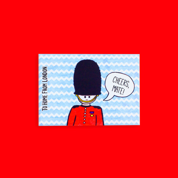 Queen's Guard Postcard - To Home From London