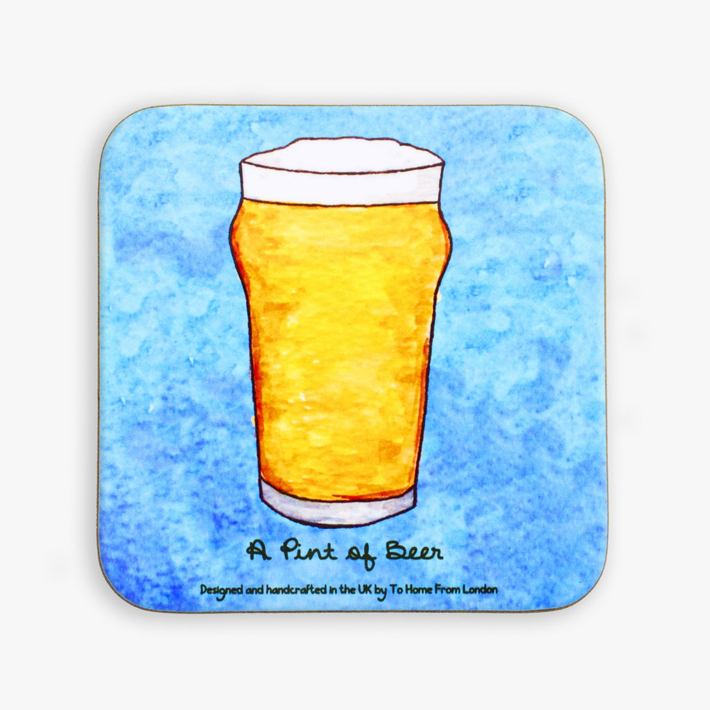 Pint of Beer Coaster - To Home From London