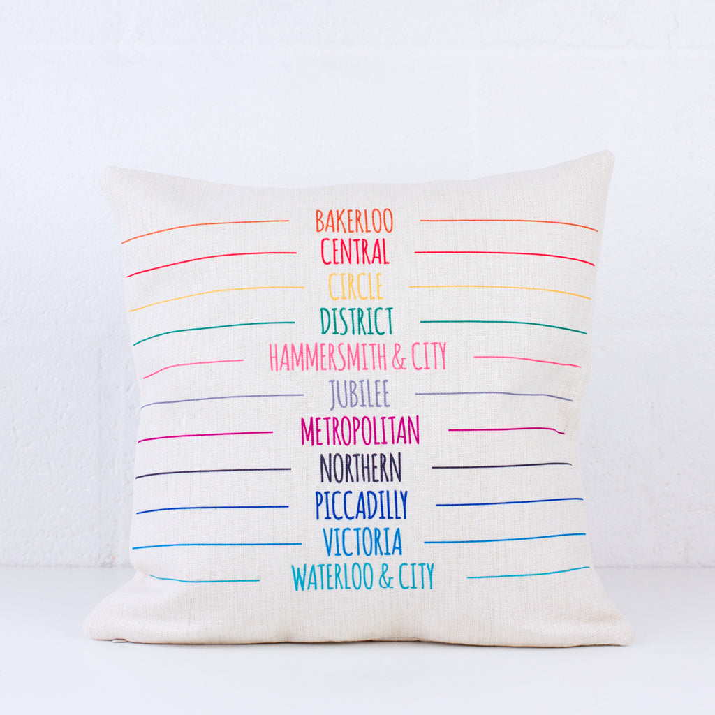 Tube Lines Cushion Cover - To Home From London