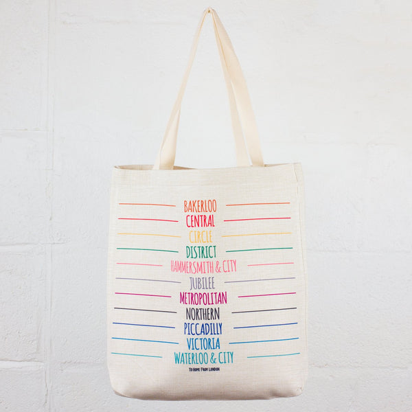 Tube Lines Linen Tote Bag